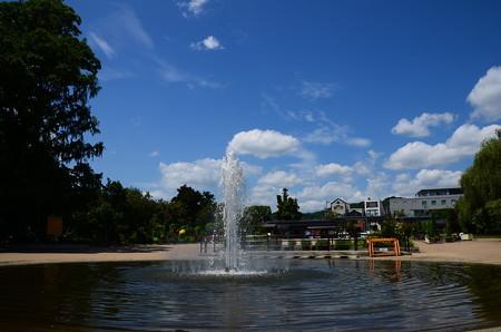 噴水と夏の空
