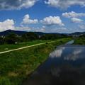 写真: 夏空と夏雲を映す賀茂川