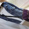 紫色帆布Wがま口斜め掛けバッグ