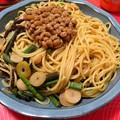 納豆と山菜のパスタ