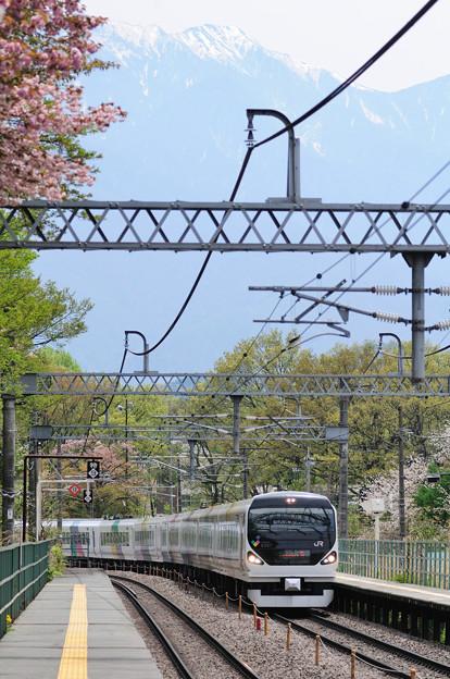 山桜が咲く長坂駅を通過するE257系特急あずさ号