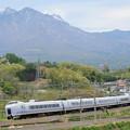 Photos: 八ヶ岳とE351系特急スーパーあずさ号