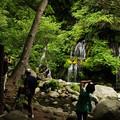 写真: 滝見物客