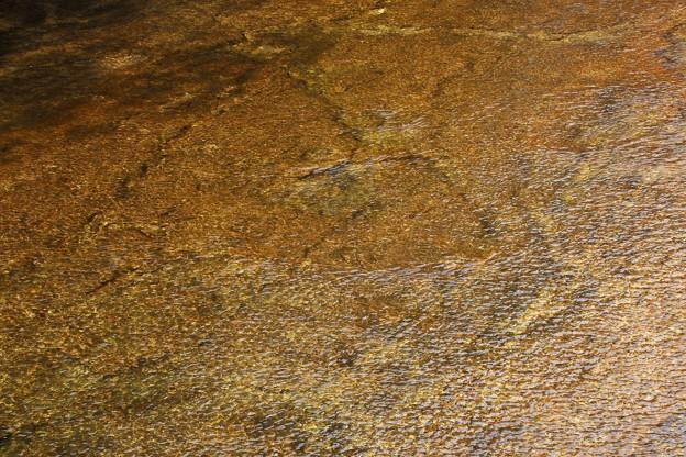 写真: 板を引き詰めた様な川底