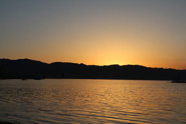 夕焼けの諏訪湖