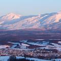 Photos: 夕染めの雪山1