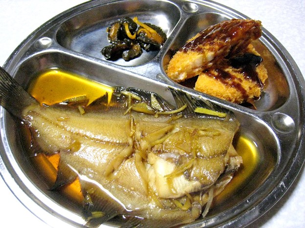 べランス鰈(柳鰈)の煮付けとコロッケ…