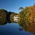 写真: 松原湖、波静か。