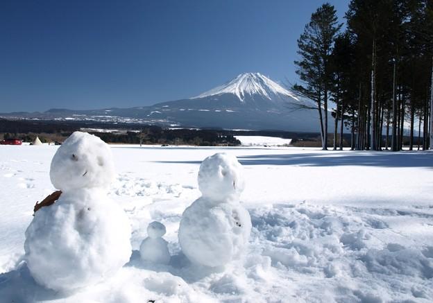 家族の雪だるま。