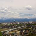 呉羽山から 新幹線は走ってない 立山すっきり見えない