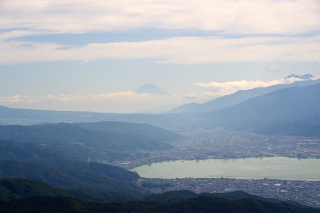 高ボッチよりの眺め、諏訪湖と富士山