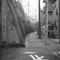 写真: 線路沿いの道