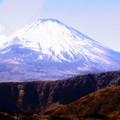写真: 雪の富士
