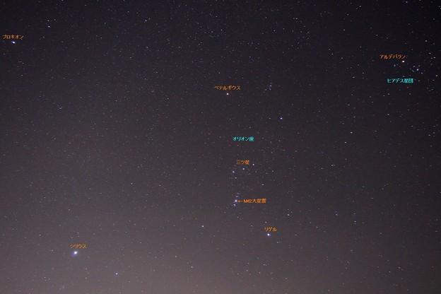 オリオン座と冬の大三角形(星名あり)