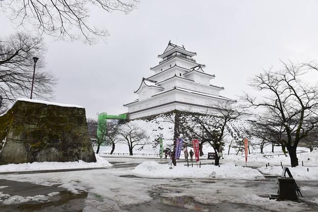 雪の会津若松城(鶴ヶ城)