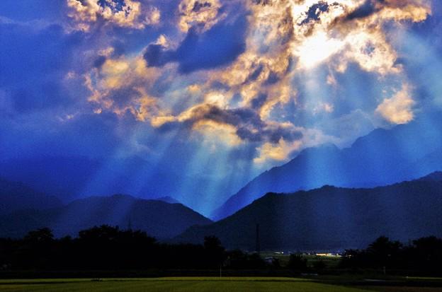 写真: 安曇野夕景