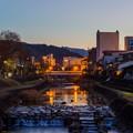写真: 高山 宮川 日の入り