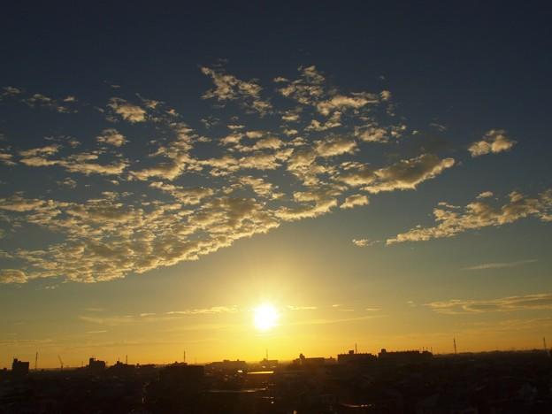 猛暑日の朝日