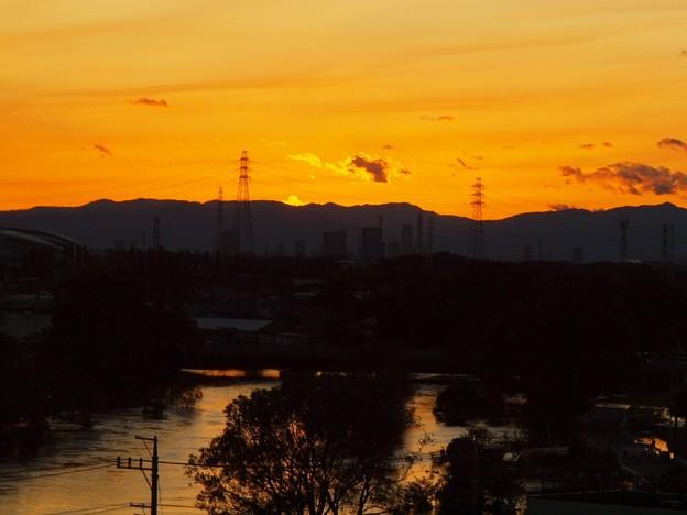 台風21号後の夕景