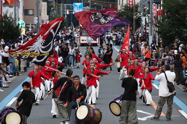 写真: よさこいと坂戸太鼓のコラボ