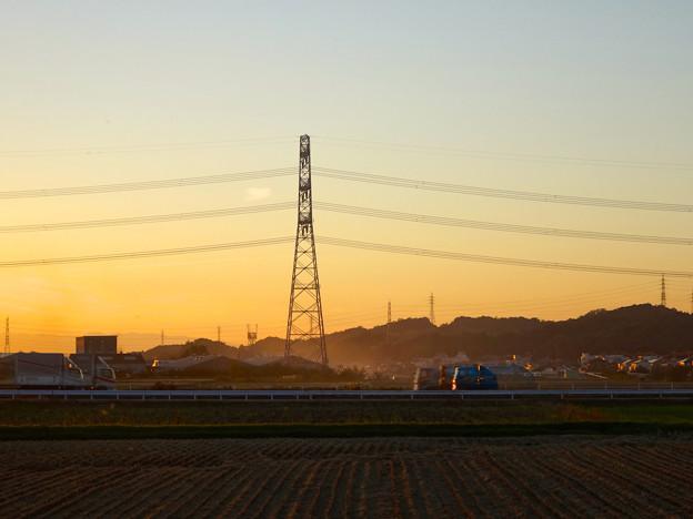 Photos: 夕暮れ時、田んぼ近くの送電線