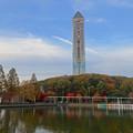 写真: 紅葉した園内の木々と東山スカイタワー - 6