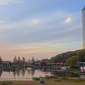 写真: 紅葉した園内の木々と東山スカイタワー - 7