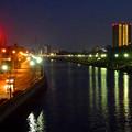 写真: 旗屋橋から見た堀川沿いの夜景 - 3