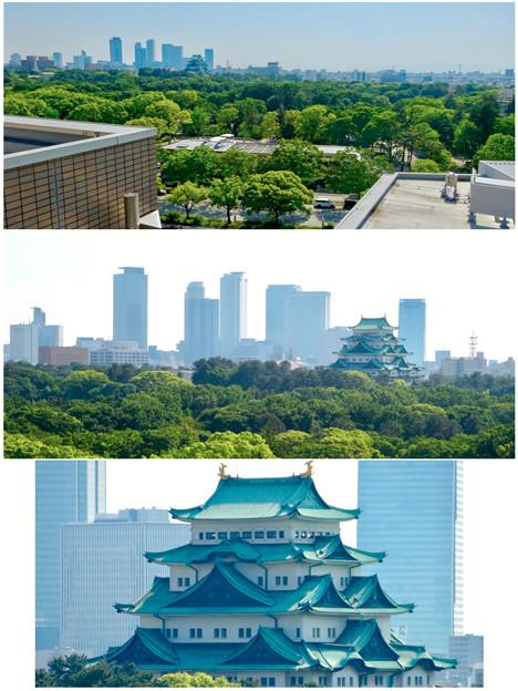 名城公園の近くから見た、名古屋城と名駅ビル群 - 1