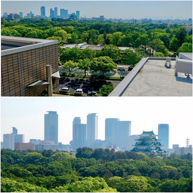 名城公園の近くから見た、名古屋城と名駅ビル群 - 2