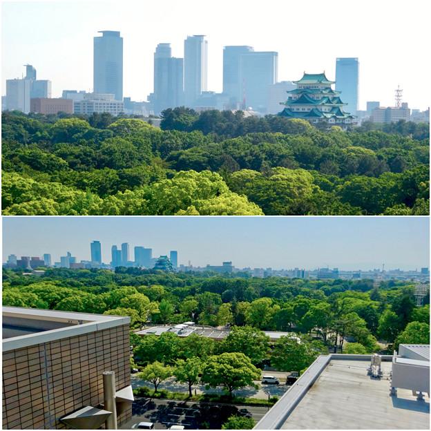 名城公園の近くから見た、名古屋城と名駅ビル群 - 3