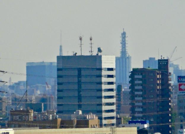 落合公園 水の塔から見た景色:名古屋テレビ塔の頭頂部とNTTドコモ名古屋ビル - 2