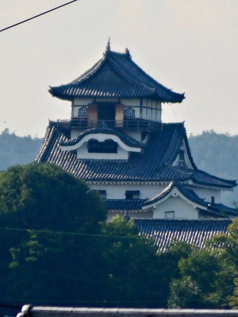 写真: 犬山駅から見えた、落雷でシャチホコが壊れた犬山城(2017年7月15日) - 2