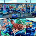 写真: 安城七夕まつり 2017 No - 196:日通の倉庫に巨大な新美南吉の壁面アート