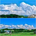 Photos: 真っ白な入道雲の前に薄黒い雲が棚引いてた、今日昼頃の雲 - 8
