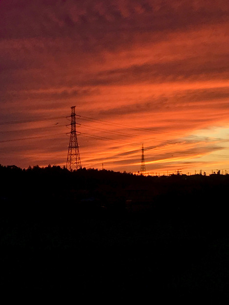 鉄塔と夕焼け - 1