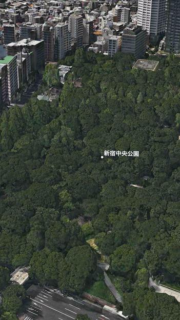 iOS 11:FlyoverでVR巨人体験 - 7(東京都、新宿中央公園)