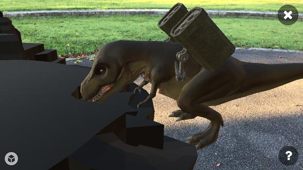 3Dモデル共有サービス「Sketchfab」公式アプリ - 48:3DモデルをAR!(ロケットランチャーを装備したティラノサウルス)