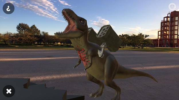 3Dモデル共有サービス「Sketchfab」公式アプリ - 52:3DモデルをAR!(ロケットランチャーを装備したティラノサウルス)