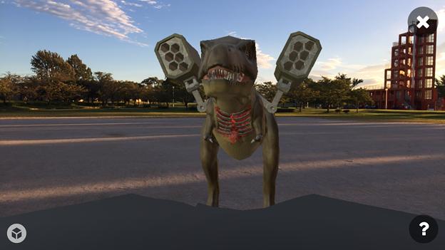 3Dモデル共有サービス「Sketchfab」公式アプリ - 55:3DモデルをAR!(ロケットランチャーを装備したティラノサウルス)