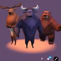 3Dモデル共有サービス「Sketchfab」公式アプリ - 64:各モデルのページ(強面のトナカイとバッファローと熊)