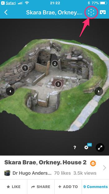Sketchfab公式アプリ:ARモードの起動ボタン
