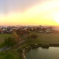 写真: 落合公園 水の塔から見た、夕暮れ時の秋の落合公園(パノラマ) - 1