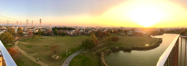 落合公園 水の塔から見た、夕暮れ時の秋の落合公園(パノラマ) - 4