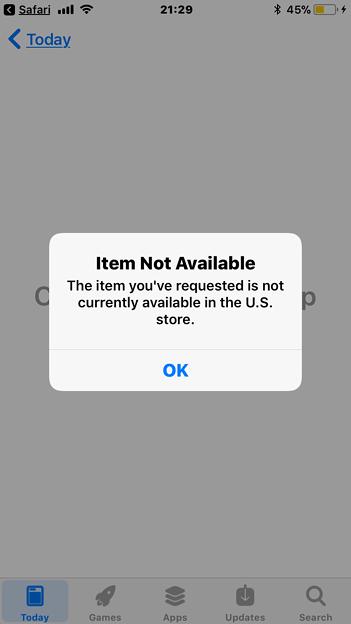 iOS 11:USのApp Storeにアプリがない時表示されるアラート