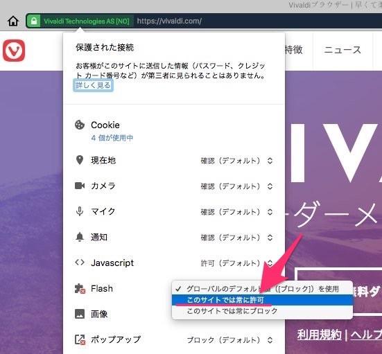 Vivaldi 1.14.1047.3:サイトの設定でFlashを常に有効 - 1