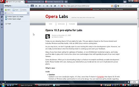 Opera 10.5 pre-alpha:パネルあり