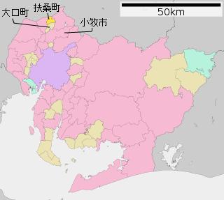 大口町・扶桑町・小牧市の地図