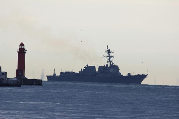 アメリカ軍駆逐艦 マスティン入港