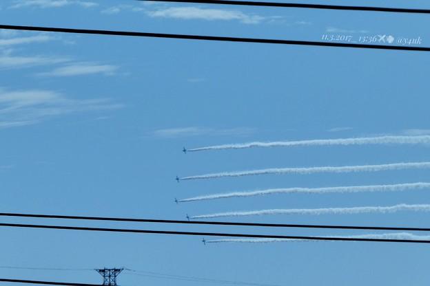 Photos: 13:35 Started Blue Impulse~今年も遠い街の屋上からズームイン!